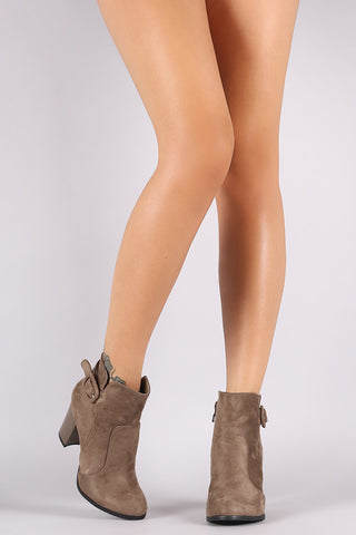 Suede Buckled Chunky Heeled Booties