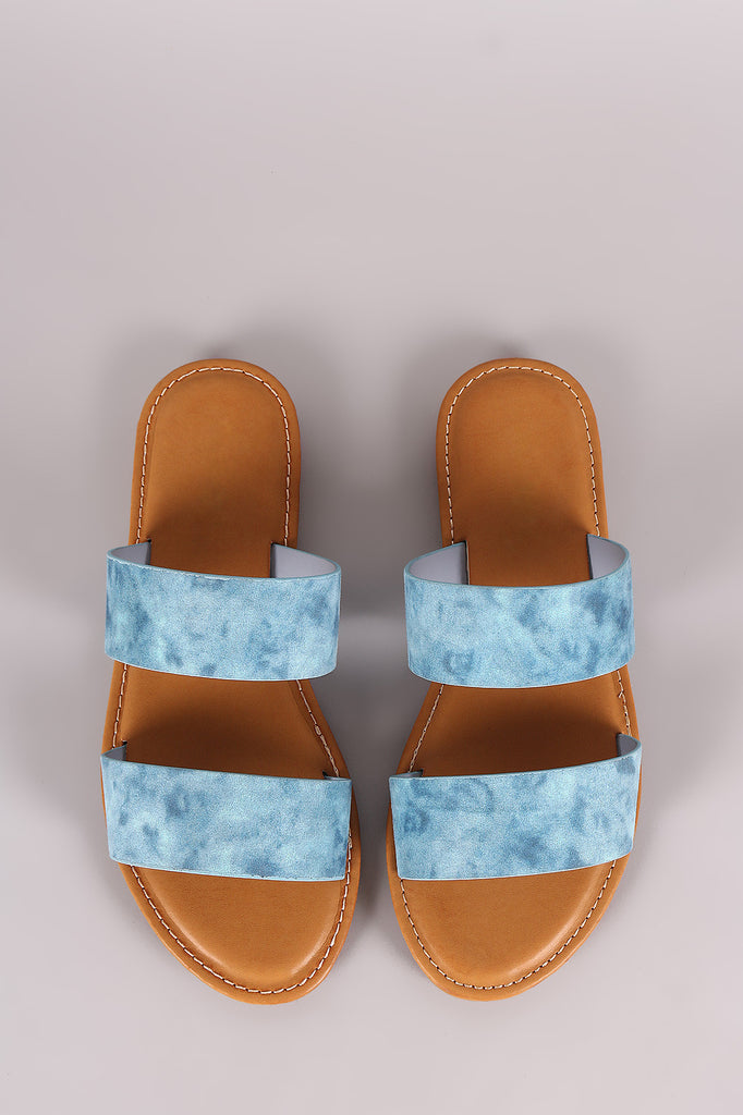 Bamboo Denim Double Band Slide Sandal
