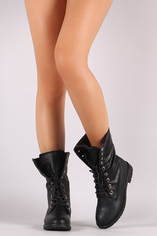Faux Shearling Cuff Lace Up Combat Boots