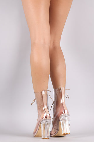 Transparent Combat Lace-Up Chunky Lucite Heeled Ankle Boots