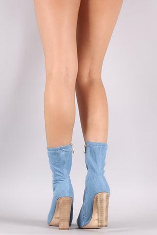 Denim Fitted Pointy Toe Round Heeled Ankle Boots