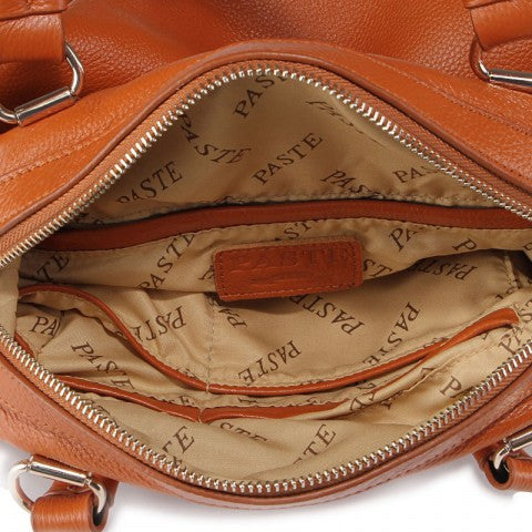 Chic Genuine Leather Bowling Handbag