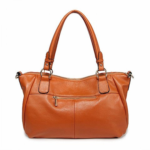 Burnt Orange Genuine Leather Tote Bag Handbag Top-handle