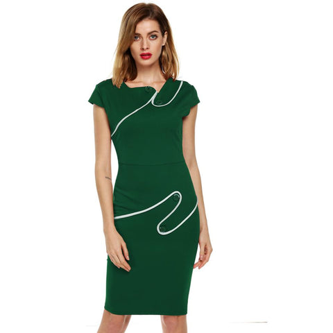 ACEVOG Vintage Elegant Casual Tunic Bodycon Sheath Pencil Dress