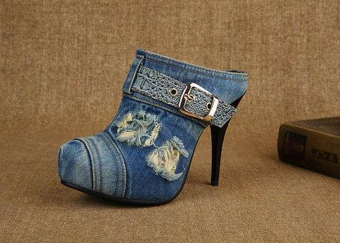 Sexy Denim Mules Stiletto High Heel Buckle Strap Distressed Jean Shoes