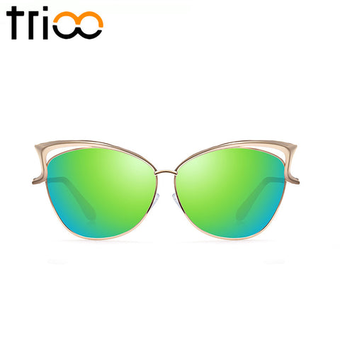 TRIOO High Quality Cat Eye Female Sunglasses Gold Metal