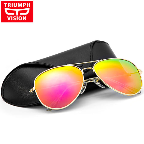 TRIUMPH VISION HD Polarized Aviator Sunglasses Women Pink Mirror