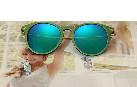 RFOLVE Newly Round Women Sunglasses Wood Frame UV400