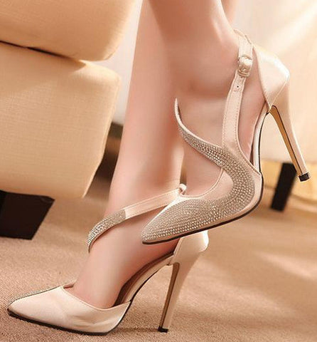 2016 New Rhinestone High Heels Women Pumps Sexy Pointed Stiletto Heels Patchwork Gold Dress Shoes Plus Size 1617