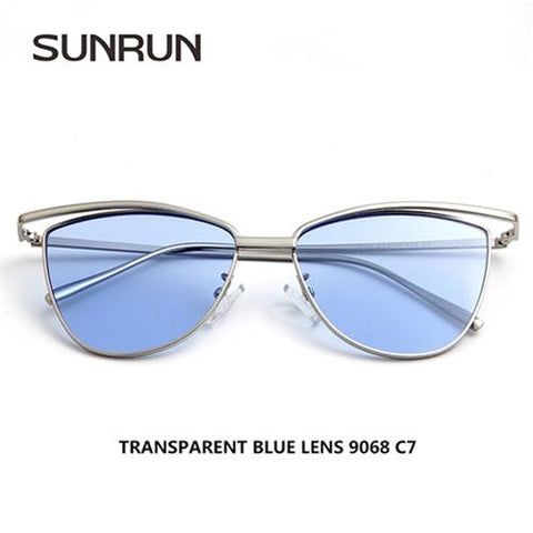 SUNRUN Cat Eye Women Sunglasses Brand Designer Metal Frame Mirror UV400