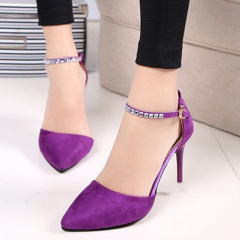Sweet Purple Fashion Women Pumps Thin Heels Suede Crystal Cutouts High Heels Shoes Stiletto Pink Buckle Strap Shoes D99 35