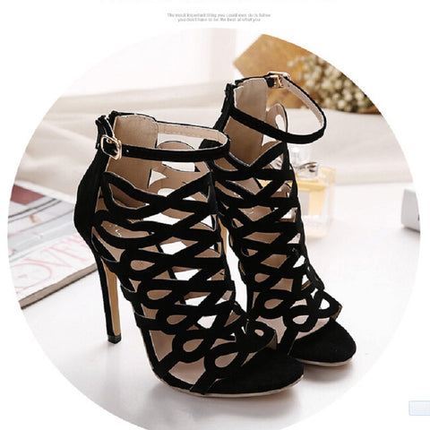 New style womens sexy high heels Buckle Strap Hollow Peep toe stiletto sandals ladies Pumps celebrity party platform shoes Black