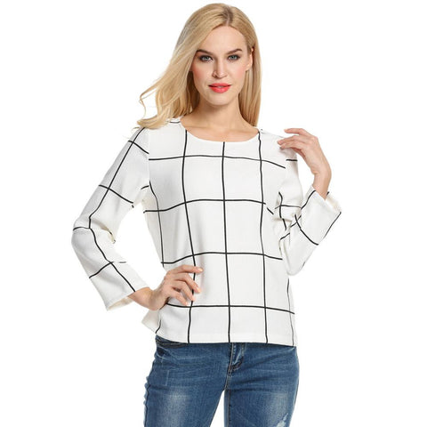 ACEVOG Plaid T shirt women Basic Tee Tops Autumn Winter Long Sleeve Casual T-shirt 2017 New Arrival T-shirts Tops