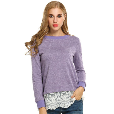 ACEVOG Autumn Winter New Women Long Sleeve Patchwork  Lace Trim T-shirt Casual Loose FitBottoming Tee Loose Tops  6 sizes
