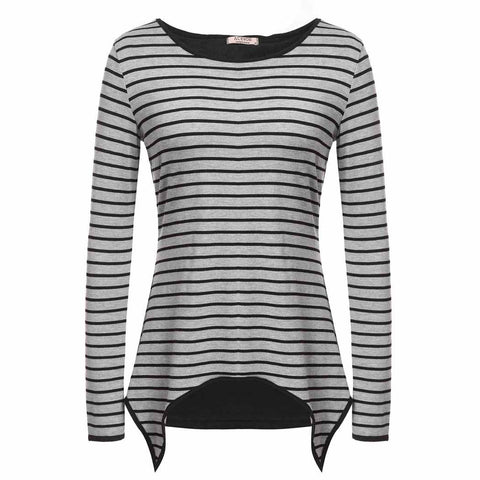 ACEVOG Women Casual  Loose Shirt Long Sleeve O-Neck Open Back Asymmetrical Hem Striped T- Shirt Tops Gray S-Xxl