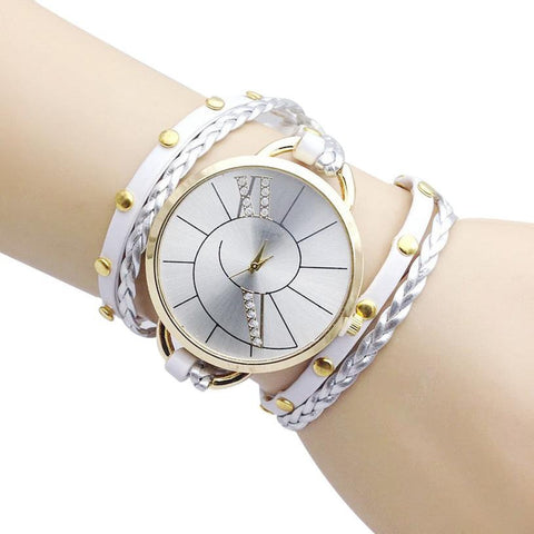 Big Dial Women Bracelet Watch Hand Woven Ladies