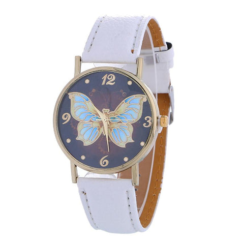 High Quality Butterfly Pattern Fashion Women Colored PU Leather clock relojes mujer dress ladies watch Business