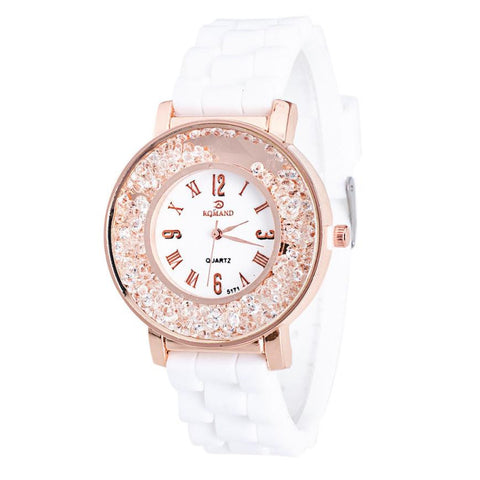 Ladies Women Watch Quicksilver Small Diamond Rhinestone Quartz