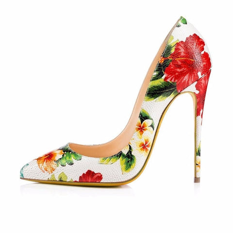 2016 New Fashion  Flower  Leather Pointed Toe pumps Stiletto Slip-on High Heel Pumps Big Size Women Shoes for Party Shoes