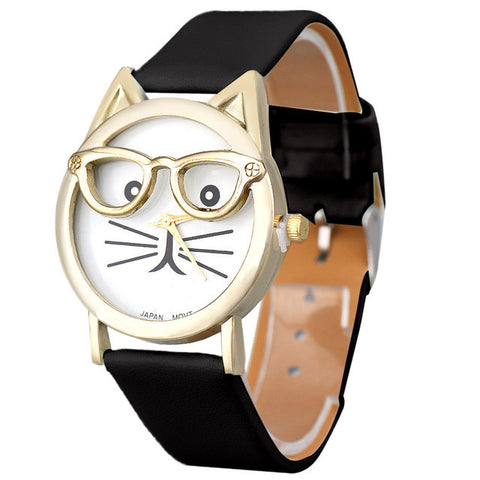 Cute Glasses Cat Analog Quartz Dial Wrist Ladies Watches