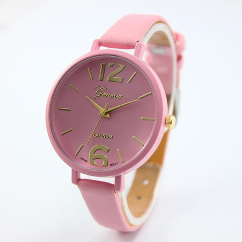 Geneva Leather Women Watch Fashion Gold Numerals Dial Analog Quartz