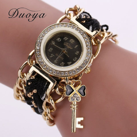 Watch Women Fashion Key Luxury Gold Crystal Leather Strap