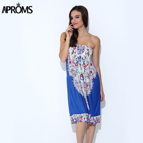 Aproms Boho Summer Women Dress Sexy Sundresses Off Shoulder