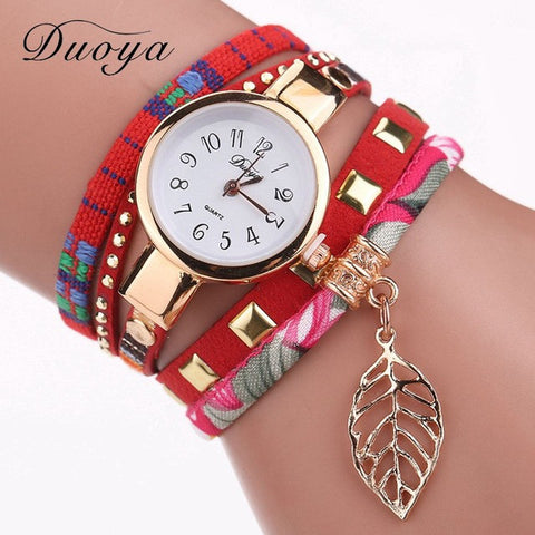 Duoya Fashion Ladies Watches Women Luxury Leaf Fabric Gold Wrist Watch