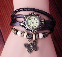 Vintage Butterfly Pendant Genuine Leather Watches Women