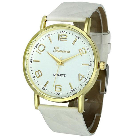 New Women Bracelet Watch Faux Leather Analog Quartz