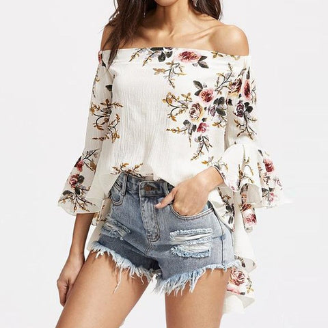 Off Shoulder Floral Flare Sleeve Shirts