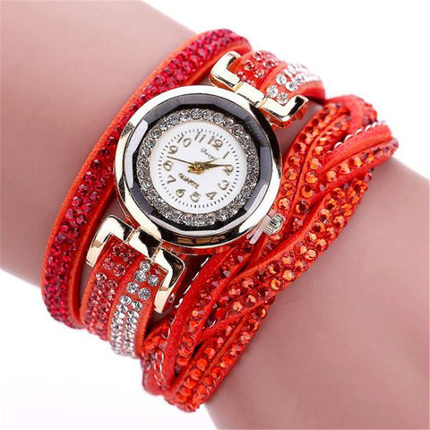 Watches Women Luxury Crystal Woman Gold Bracelet Quartz Wristwatch Rhinestone
