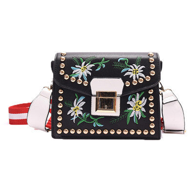 Vintage Rivet Floral Embroidered Handbags Leather Bags Women  Purse Ethnic Embroidery Bag Small Shoulder Women Messenger Bags