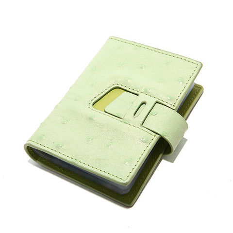 EMINI HOUSE Ostrich Pattern Genuine Leather Business Id Card Holders