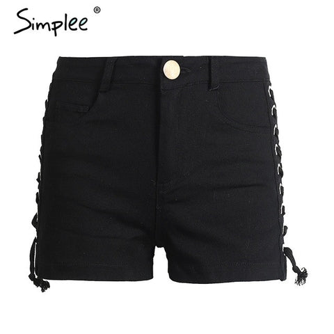 Lace-up Denim Hollow Out Shorts