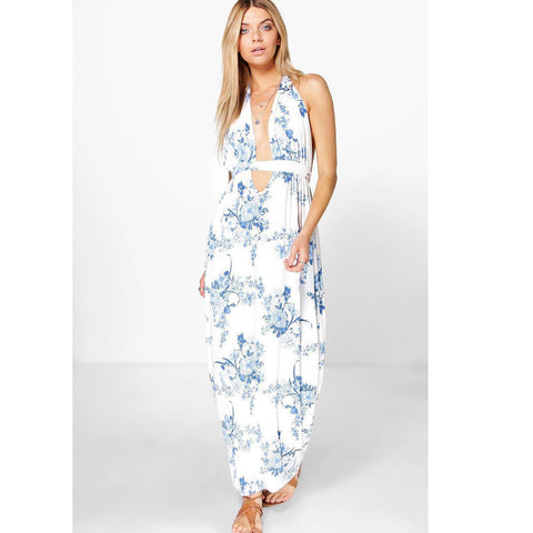 2017 Summer Blue Delicate Floral Maxi Dress Boho Long Elegant Beaches White