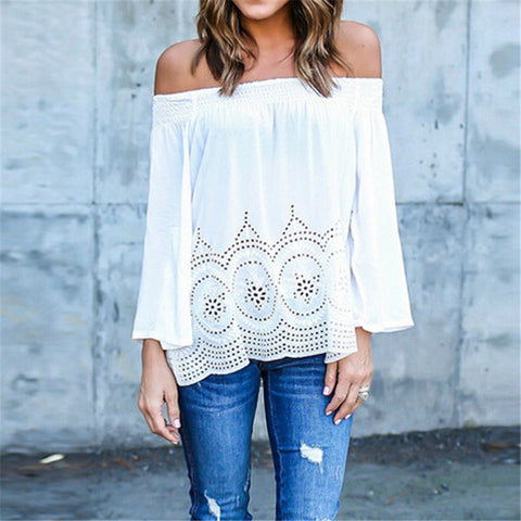 Off Shoulder Sexy Slash Neck Long Sleeve Hollow Out Embroidery Top