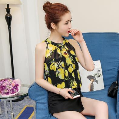 European Summer Flowers Print Halter Sleeveless Ruffled Neck Blouse