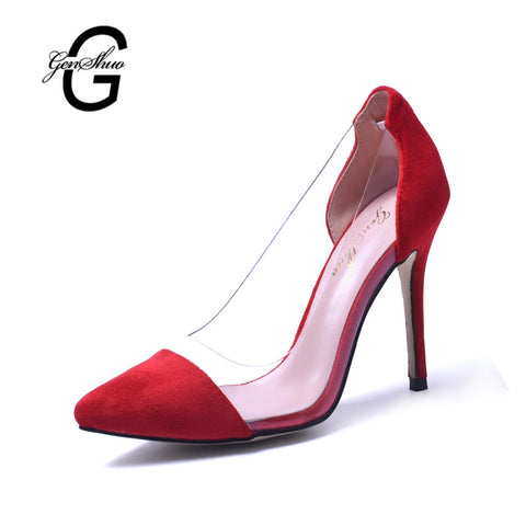 New Women High Heel Shoes Red Vintage Style Woman Shoes High Heels Black Clear Sexy Wedding Designer Shoes Stiletto Pumps