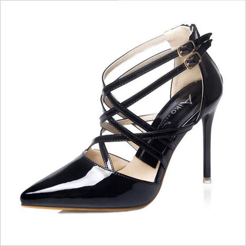 Fashion Sexy Women Pumps Pointed Cross Ankle Strap High Heels Roman Style Hollow Stiletto / Party Wedding Shoes