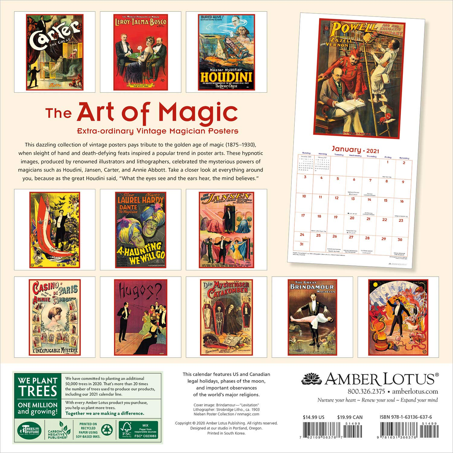 The Art of Magic 2021 Wall Calendar: Extraordinary Vintage Magician Posters