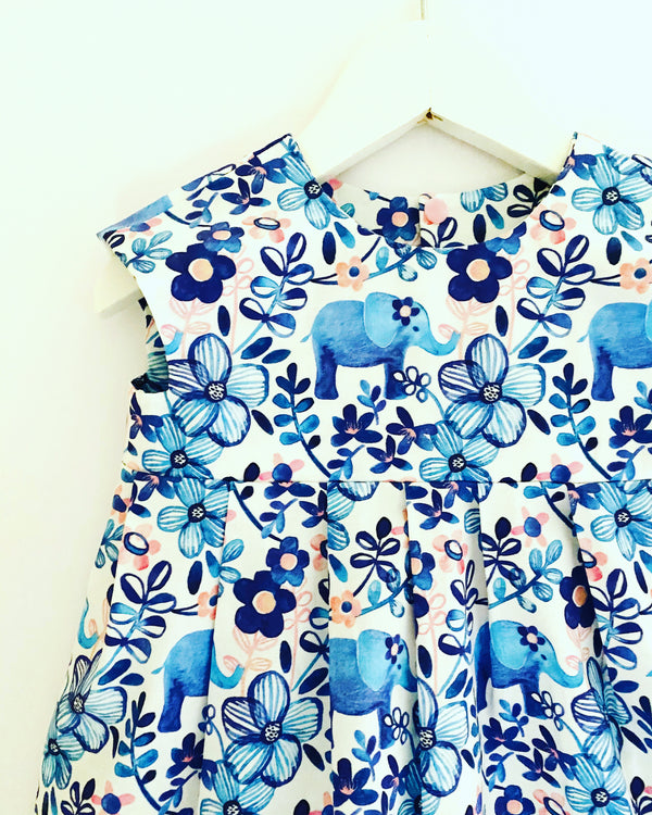 'Little Blue Elephant' dress 🐘🌸 AVAILABLE FOR PREORDER. TURNAROUND 2/3 WEEKS
