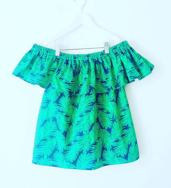 Navy Palm print 'Ruffle' Top