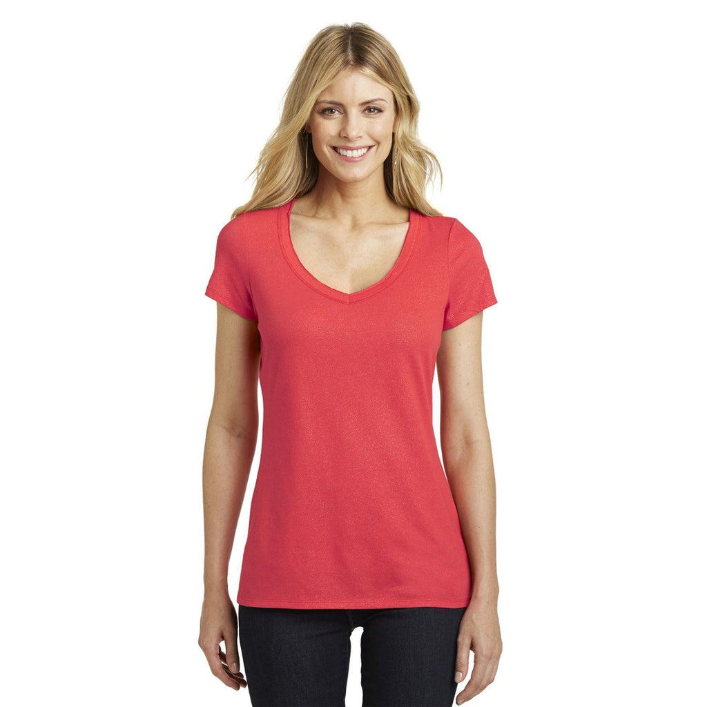 V Neck - Blank Ladies District Made DM456 Shimmer V-Neck Tee