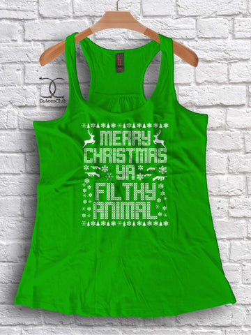Womans Tank - Merry Christmas Ya Filthy Animal