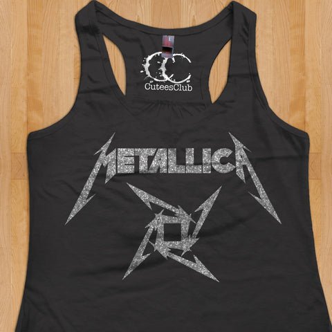 Womans Tank - Metallica with silver glitter