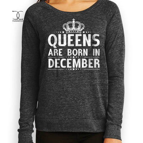 Sweatshirts - Queens Are Born In December Jersey Slouchy Pullover AA1990