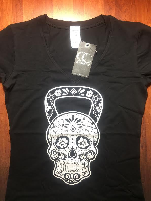 Womans Tank - Deal Of The Day | Kettlebell Sugar Skull | Juniors Black Small V neck