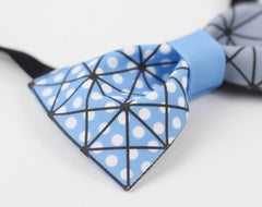 Blue Geometry Bow Tie - Bowties - 2