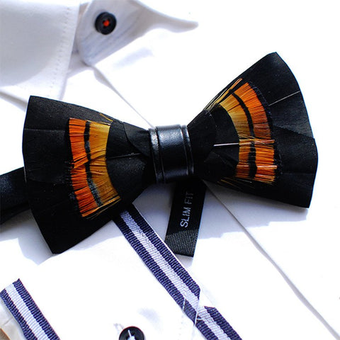 Black Feather Bowtie - Bowties - 1